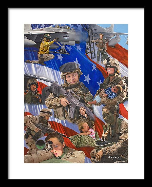War Framed Print featuring the painting Fair Faces of Courage by Karen Wilson