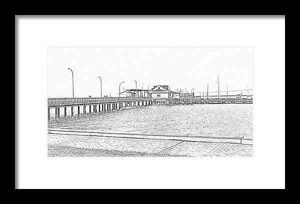 Digital Art Framed Print featuring the photograph Fairhope Pier In Black And White by Marian Bell