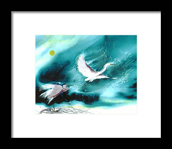 A Pair Of Egrets By The Water At Night- A Watercolor Painting Framed Print featuring the painting Fairies by Mui-Joo Wee