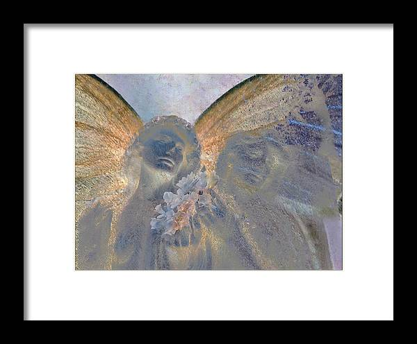 Decorative Framed Print featuring the digital art Fairies With White Flowers by Heike Schenk-Arena