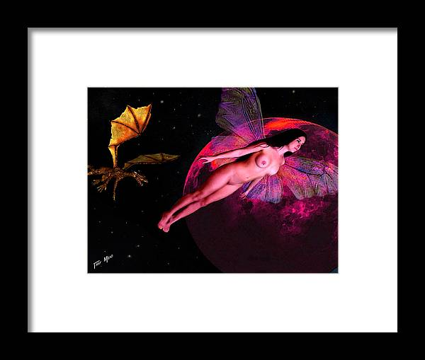 Erotic Framed Print featuring the painting Fairy And The Dragon by Tray Mead