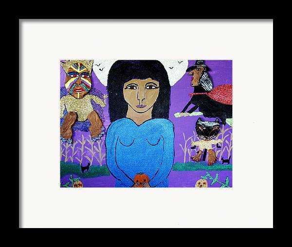 Framed Print featuring the mixed media Fairy Egg Head Vs. Broomhilde by Betty J Roberts