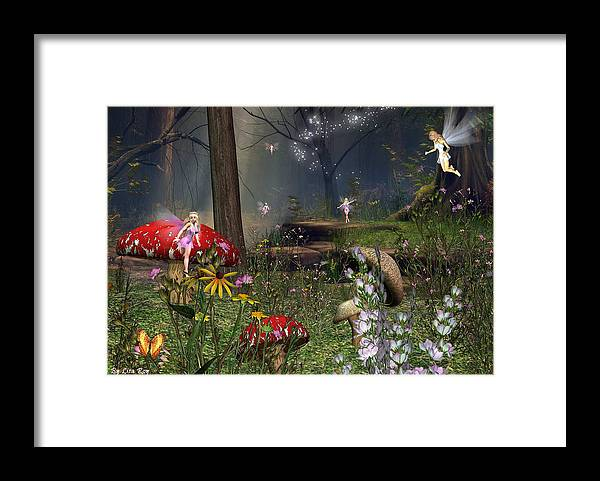 Fairy Fae Fairies Fantasy Magic Framed Print featuring the digital art Fairy Night by Lisa Roy