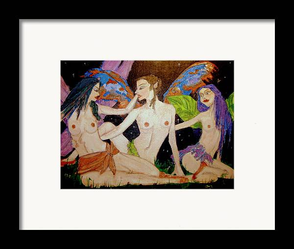 Faerie Framed Print featuring the painting Fairy Sisters Of The Night by Donna Hanna