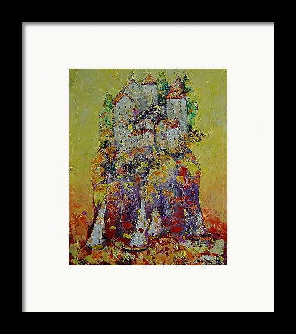 Fantasy Framed Print featuring the painting Fairy Tale Island by Sari Haapaniemi