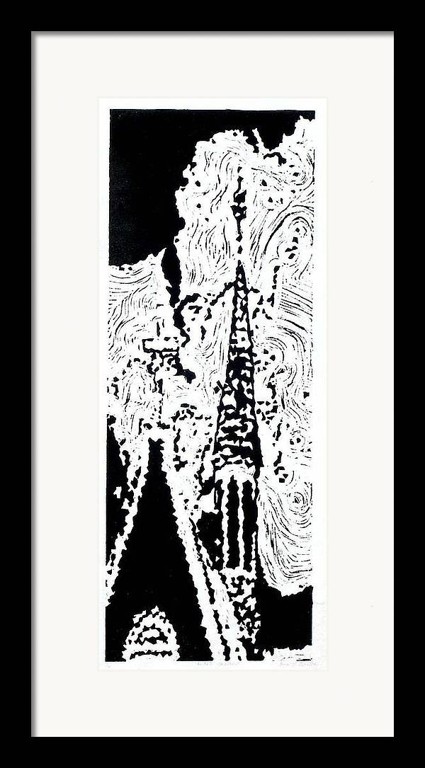 Black Framed Print featuring the painting Faith--hand-pulled Linoleum Cut Relief Print by Lynn Evenson