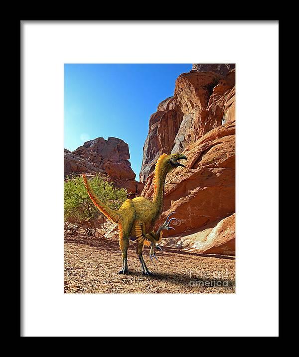 Dinosaur Art Framed Print featuring the mixed media Falcarius Among Cliffs by Frank Wilson
