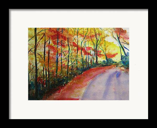 Abstract Landscape Framed Print featuring the painting Fall Abstract by Lizzy Forrester