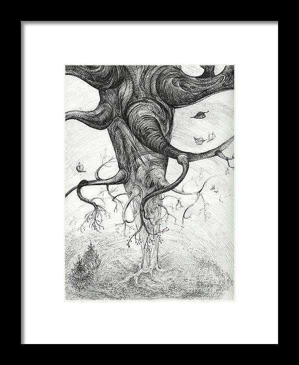 Pen And Ink Framed Print featuring the drawing Fall by Anna Duyunova