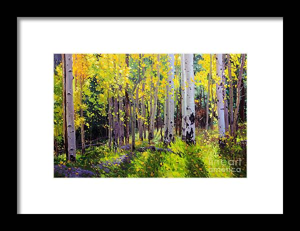 Aspen Tree Framed Print featuring the painting Fall Aspen Forest by Gary Kim