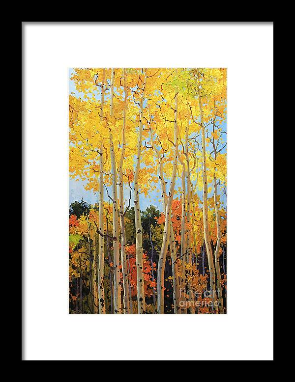 Nature Framed Print featuring the painting Fall Aspen Santa Fe by Gary Kim