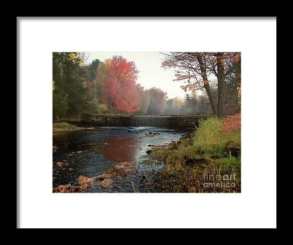Foggy Fall Morning Framed Print featuring the photograph Fall at Griffin Mill by Diana Nault