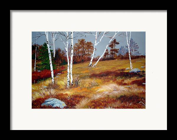 Maine Framed Print featuring the painting Fall Birch Trees And Blueberries by Laura Tasheiko