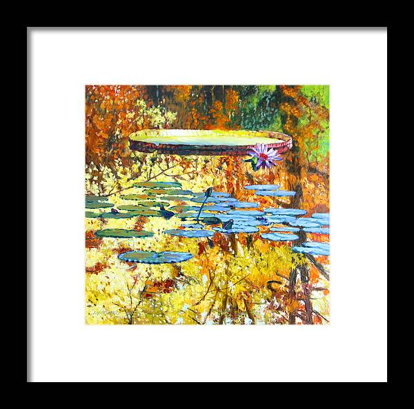 Fall Framed Print featuring the painting Fall Colors On The Lily Pond by John Lautermilch