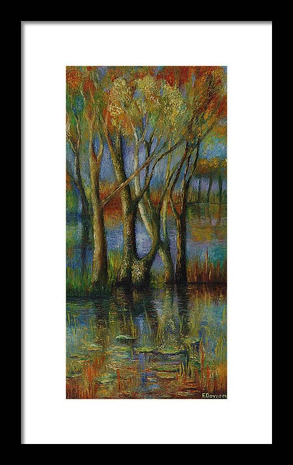 Landscape Framed Print featuring the painting Fall. by Evgenia Davidov