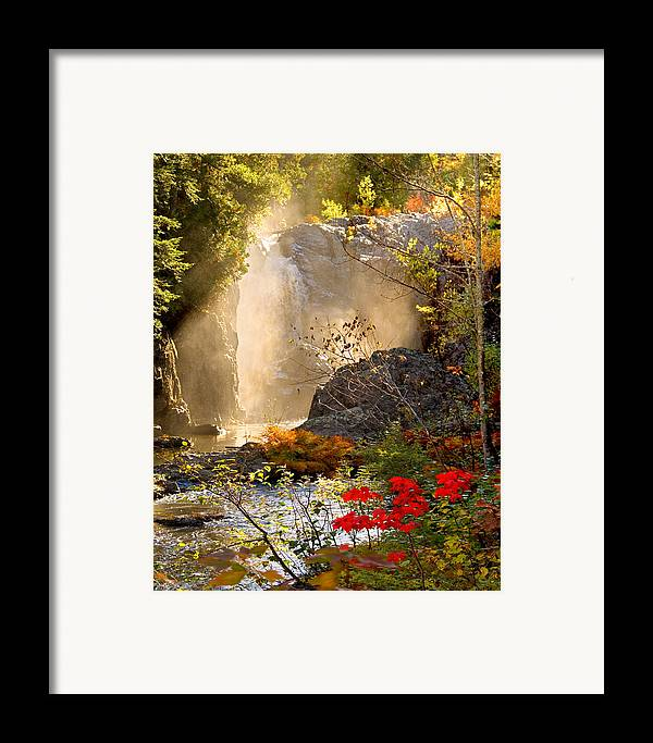 Fall Framed Print featuring the photograph Fall Falls Mist Dead River Falls Marquette Mi by Michael Bessler