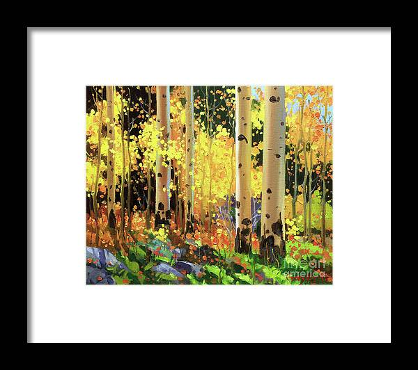 Southwestern Rocky Mountain Autumn Landscape Aspen Trees Birch Tree Full Fall Foliage Bright Golden Yellow Orange Leaves White Sliver Bark Aspen Trunks Wildflowers Foreground Along Grasses And Aspen Trees In The Distance Vibrant Colorful Autumn Tree Foliage Giclee Print Landscape Wildflower Elk Mountains Maroon Peak Forest Nature Woods Flowers Trees Summer Spring Flowers Tree Canopy Vibrant Vivid Colorful Colourful Gary Kim Fineart Original Oil Painting Landscape Oil Painting Contemporary Framed Print featuring the painting Fall Forest Symphony I by Gary Kim