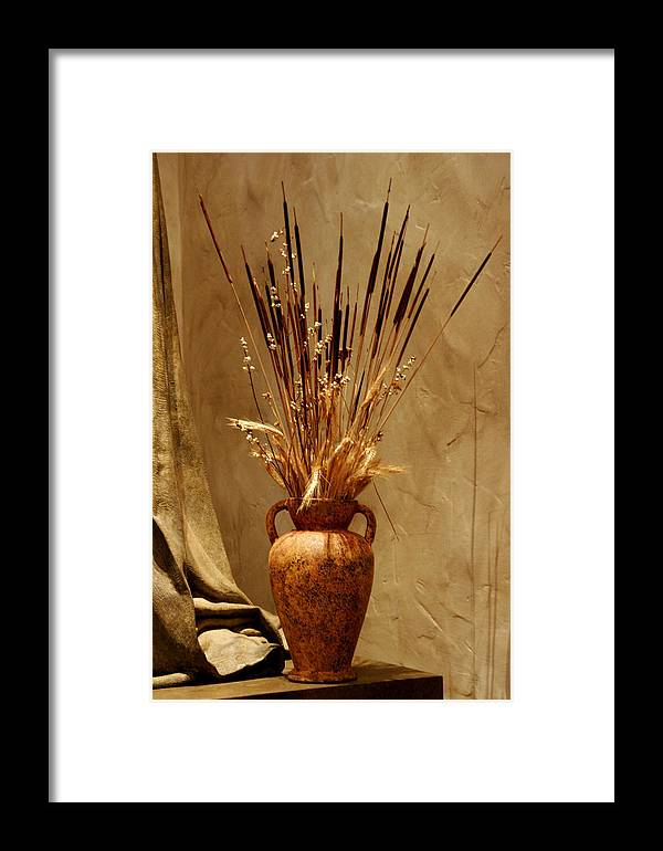 Fall Framed Print featuring the photograph Fall In A Vase Still-life by Christine Till
