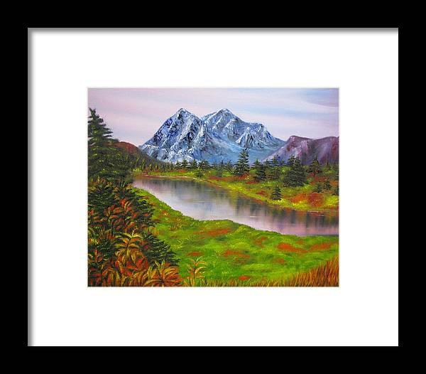 Fall Framed Print featuring the painting Fall In Mountains Landscape Oil Painting by Natalja Picugina
