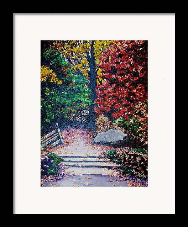 A N Original Painting Of An Autumn Scene In The Gateneau In Quebec Framed Print featuring the painting Fall In Quebec Canada by Karin Dawn Kelshall- Best