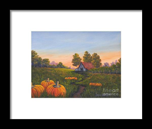 Landscape Framed Print featuring the painting Fall In The Air by Jerry Walker