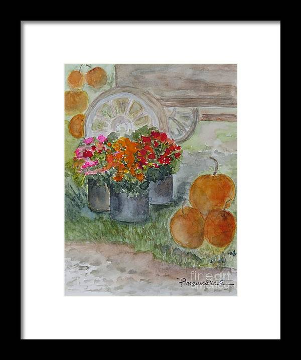 Pumpkins Framed Print featuring the painting Fall In Vermont by Peggy Maunsell