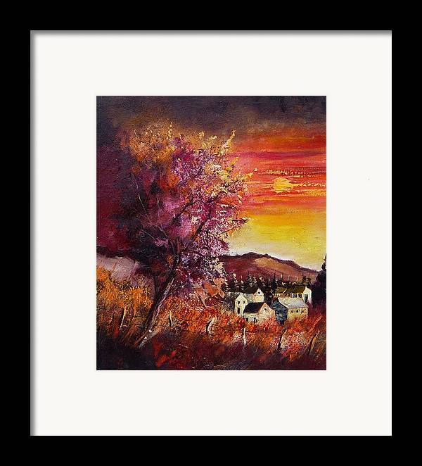 Autumn Framed Print featuring the painting Fall In Villers by Pol Ledent