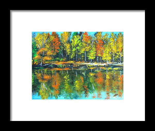 Fall Framed Print featuring the painting Fall Landscape Acrylic Painting Framed by Natalja Picugina