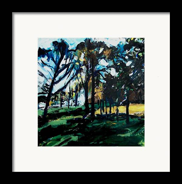 Landscape Framed Print featuring the painting Fall Park Scene by Garry Pisarek