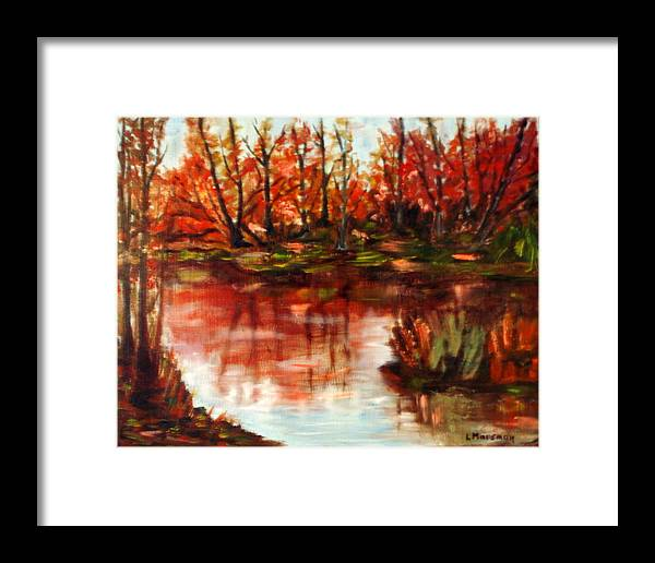 Landscape Framed Print featuring the painting Fall Reflections by Lia Marsman