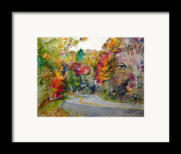 Landscape Framed Print featuring the painting Fall Road - Watercolor by Donna Hanna