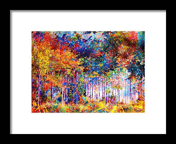 Abstract Landscape Framed Print featuring the mixed media Fall by Robin Monroe