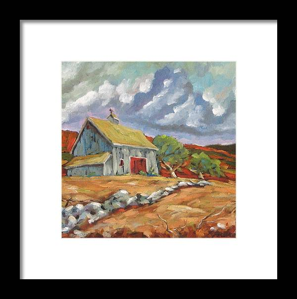 Farm Framed Print featuring the painting Fall Scene by Richard T Pranke