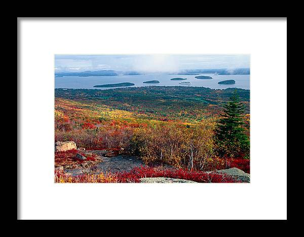 Aerial View Framed Print featuring the photograph Fall Scenic View Of Bar Harbor by George Oze