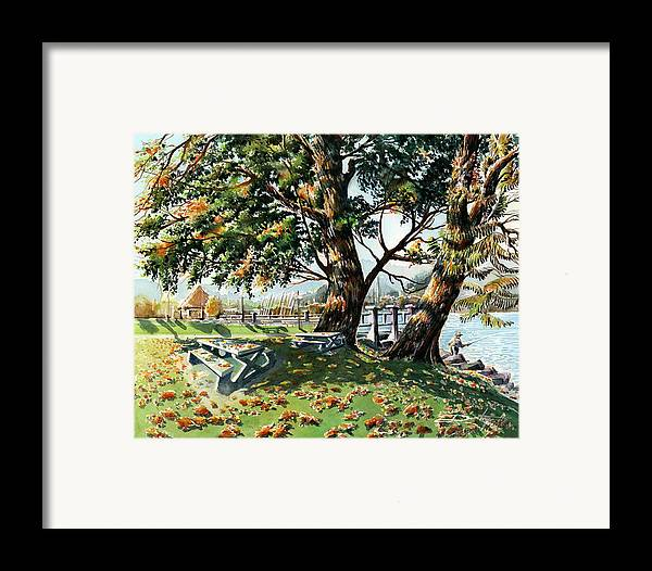 Landscape Framed Print featuring the painting Fall Shapes Roky Point Park by Dumitru Barliga
