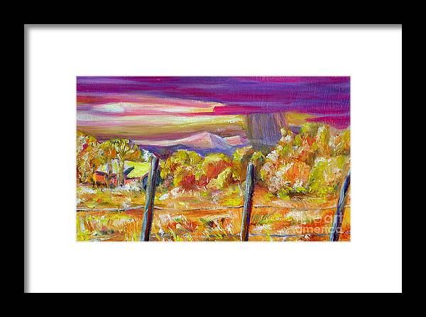 Landscapes Of New Mexico Framed Print featuring the painting Fall Skies In Nm by George Chacon