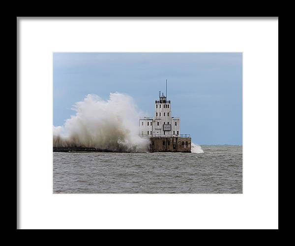 Breakwater Lighthouse Framed Print featuring the photograph Fall Storm by Paul Schultz