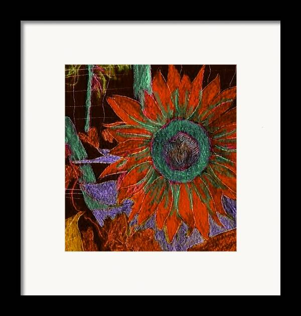 Digital Art Framed Print featuring the digital art Fall Sunflower by Margie Byrne