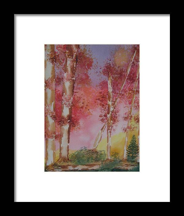 Landscape Fall Trees Watercolor Framed Print featuring the painting Fall Sunshine by Warren Thompson
