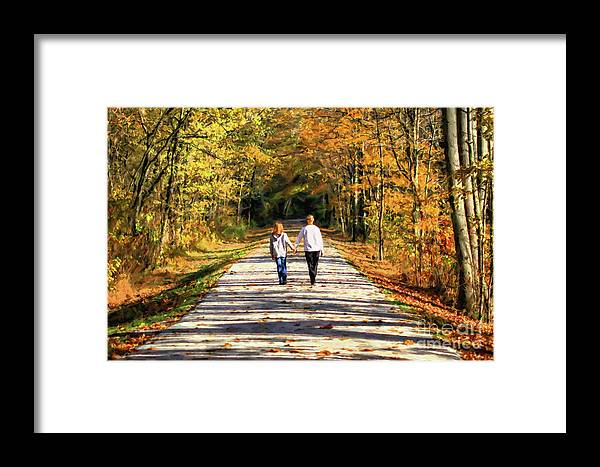 Fall Framed Print featuring the photograph Fall Walk In The Woods by Randy Steele