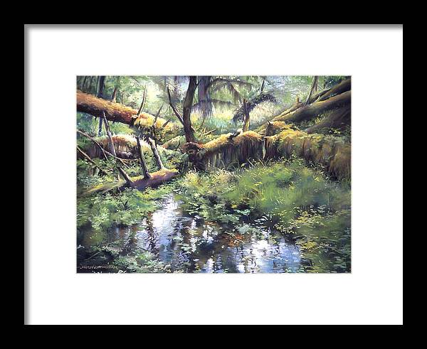 Trees Framed Print featuring the painting Fallen Giants by Marion Hylton