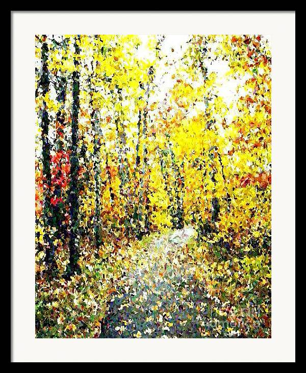 Fallscape Framed Print featuring the painting Fallen Leaves Of Autumn by Don Phillips