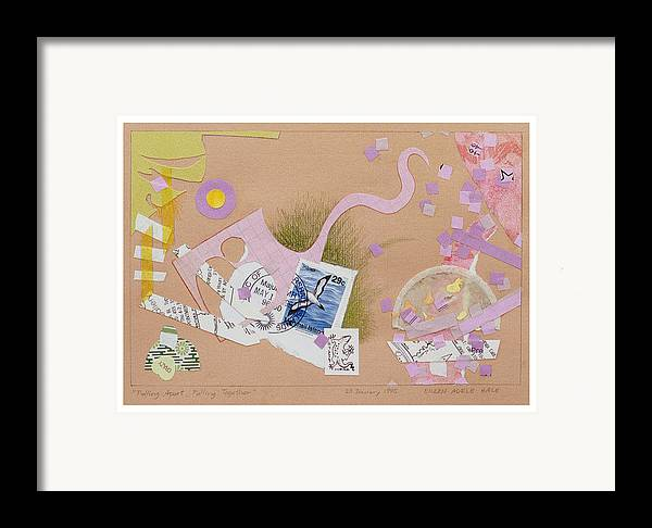 Collage Framed Print featuring the mixed media Falling Apart Falling Together by Eileen Hale