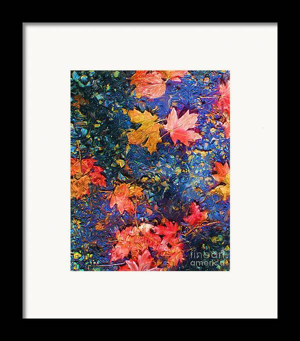 Fall Framed Print featuring the mixed media Falling Blue Leave by Marilyn Sholin