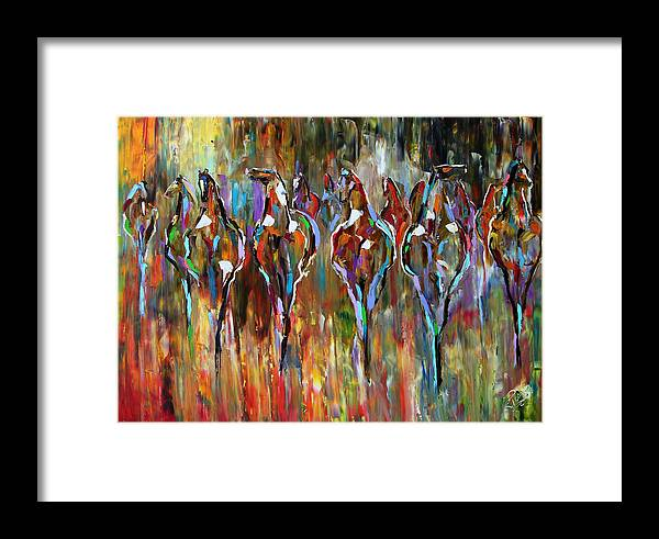 Horse Paintings Framed Print featuring the painting Falling Into Winter Herd by Laurie Pace