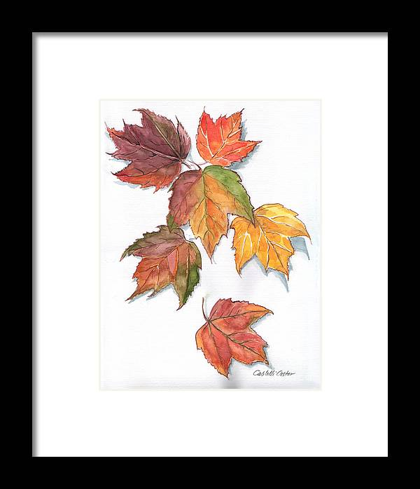 Leaves Framed Print featuring the painting Falling Leaves by JoAnne Castelli-Castor