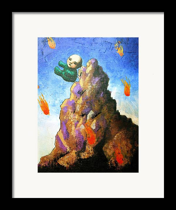 Figure Framed Print featuring the painting Falling Off The Mountain by Pauline Lim