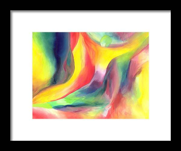 Abstract Framed Print featuring the painting Falling by Peter Shor