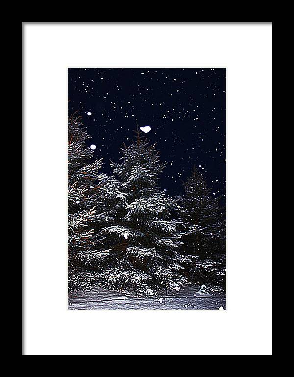 Romantic Framed Print featuring the photograph Falling Snow by David Kehrli