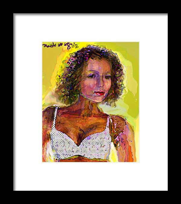 Portrait Framed Print featuring the painting Fallingangel by Noredin Morgan